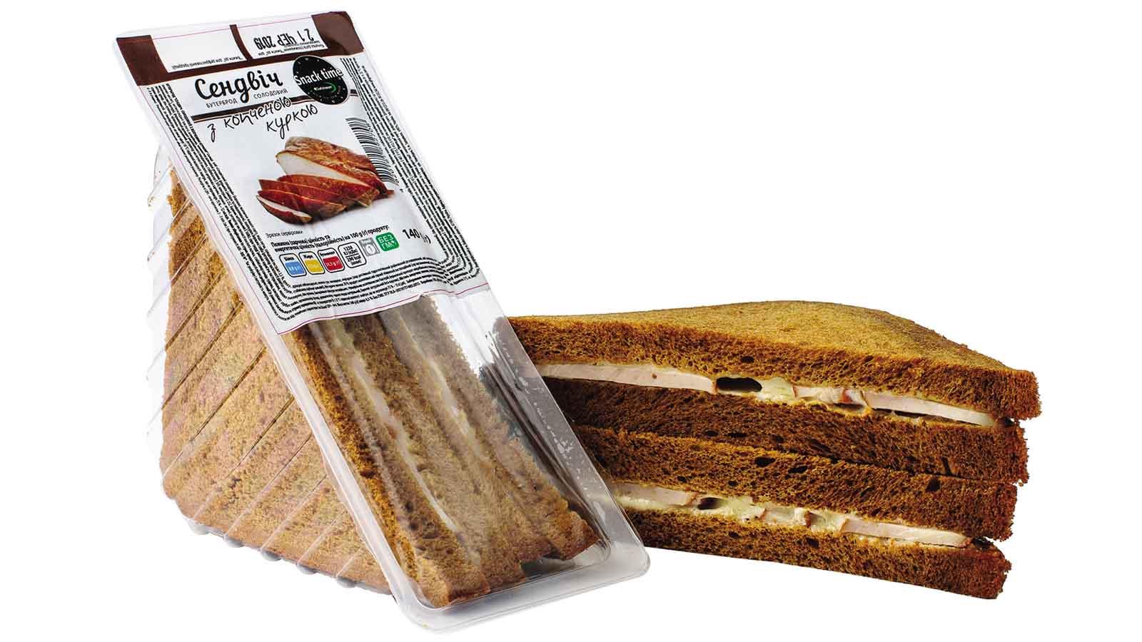 Sandwich malt with smoked chicken