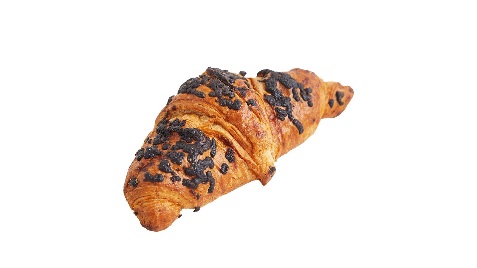 Croissant with nut filling and chocolate